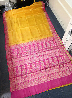 Vintage Silk Sari Saree Fabric India, Yellow Orange Gold Mustard Organza Solid
