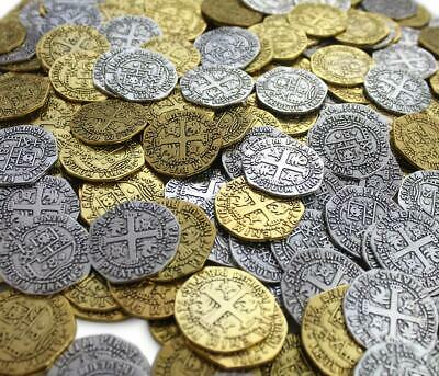 Pirate Treasure Metal Coins 32 Large Gold Silver Doubloon Coins Antique Replicas