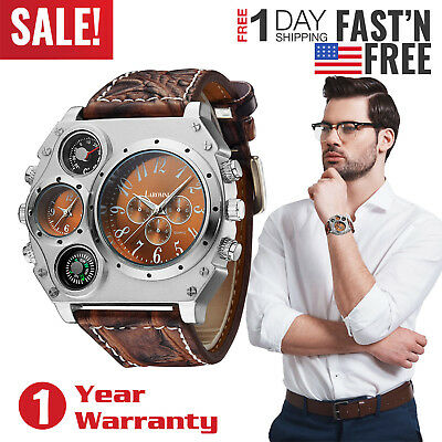 Luxury Quartz Sports Military Two Time Zones Dial Leather Band Wrist Watch Men