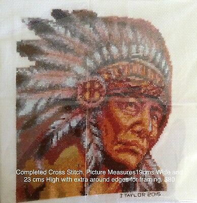 Unframed Completed Cross Stitch Indian Chief