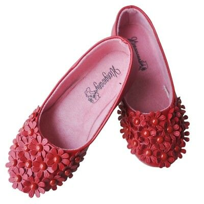 Red Children Shoes Girls Shoes Princess GirlsSingle Shoes Lovely PU Flower  T2J6