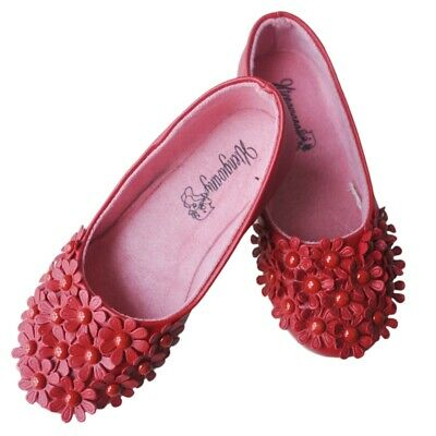 Red Children Shoes Girls Shoes Princess GirlsSingle Shoes Lovely PU Flower  C4D8