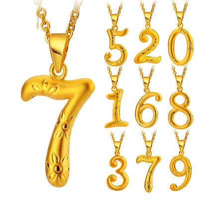 New Pure 24K Yellow Gold Pendant / Lucky Number Pendant 1 pcs, choose the number