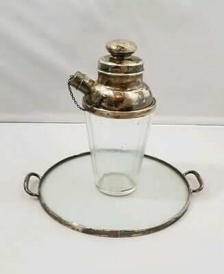 Webster Silver Company American Glass Sterling Silver Cocktail Shaker Tray 925
