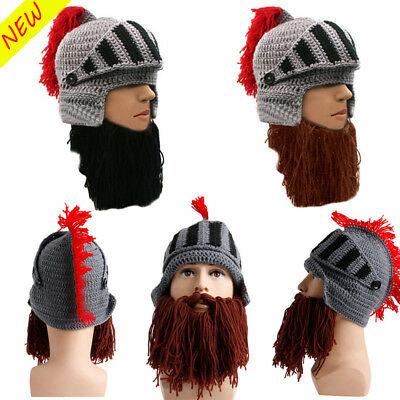 56fbd33397a Fashion Tassel Roman Knight Knit Helmet Men Cap Winter Warm Beard Hat  Beanies XR