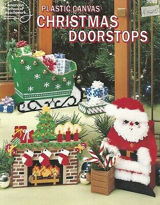 Christmas Doorstops Plastic Canvas Instruction Patterns Fireplace Sleigh Santa