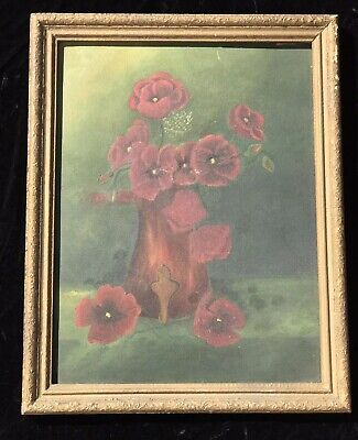 Old Framed OIL PAINTING Antique Roses Rose Romantic French Floral Shabby Chic