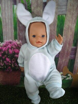 "Dolls clothes  for 17"" Baby Born  doll~BLUE EASTER BUNNY RABBIT COSTUME/BOOTS"