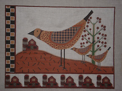 Handpainted Needlepoint Canvas By Sharon Glanville   Crows  Barns   Hp Np