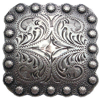 "Antique Silver Square Berry Concho 1 3/8""  (34mm)"
