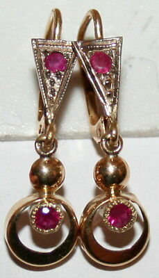 ANTIQUE FRENCH VICTORIAN BICOLOR Y W 18k GOLD RUBY FINE DANGLE EARRINGS c 1900