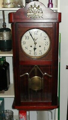 Antique Germany Westminster Chime Cedar case Wall Clock,working with key.