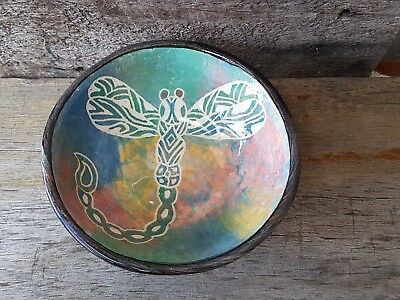 Australian Pottery Aboriginal Motif Dragonfly Bowl BNYM Pottery Signed Sam