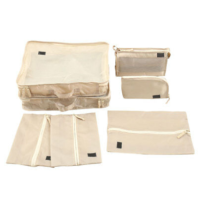 7Pcs Travel Pouches Luggage Organiser Packing Cubes Clothes Suitcase Storage Bag