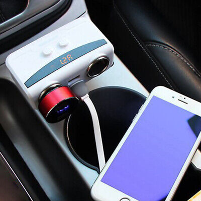 ABS Dual USB Car Charger Cigarette Lighter Double Power Adapter Socket Splitter