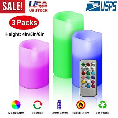 Set of 3 Flickering Moving Wick Flameless Pillar Candle Led Remote Candles Safe
