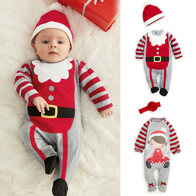 Children Boy Girl Infant Baby Romper Clothes Hat Costume Outfits Xmas Unisex XR