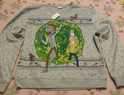 "Official Rick And Morty Brand ""Portal"" Ugly Christmas Sweater Adult Swim XL"