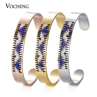 Cuff Bangle Seed Beads Bohemian Jewelry Stainless Steel Beadwork Bracelet M-025