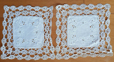White doilies (2) embroidered in white with lace edging, vintage