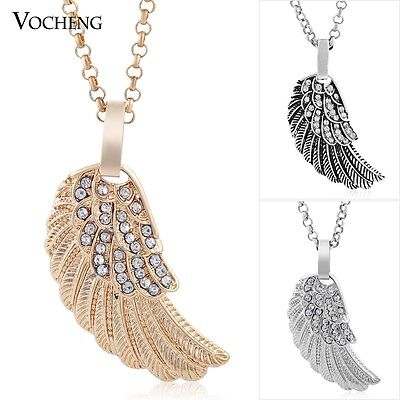 10pcs/lot Vocheng Angel Wings Charm Necklace Stainless Steel Chain VA-191*10