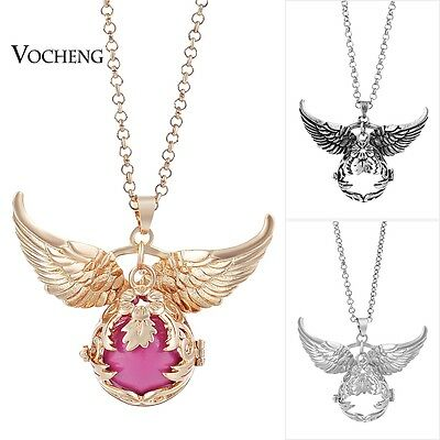 10PCS/LotVocheng Angel Ball Wing Flower Necklace Stainless Steel Chain VA-100*10