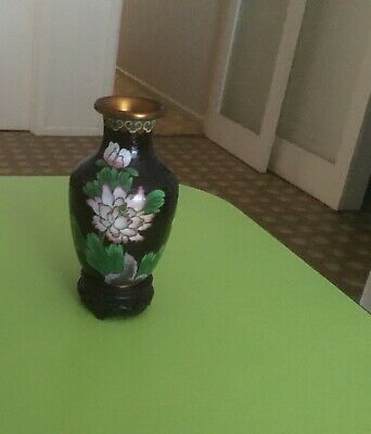 Chinese Cloisonne Vintage Vase on Carved Stand