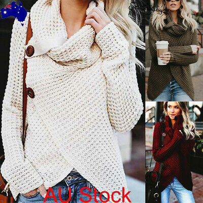 AU Stock Women Casual Long Sleeve Knitted Pullover Sweater Knitwear Jumper Tops