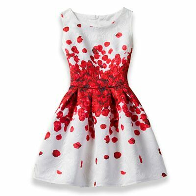 Girl Floral Printed Party Dress Sleeveless Cotton Material Round Neck