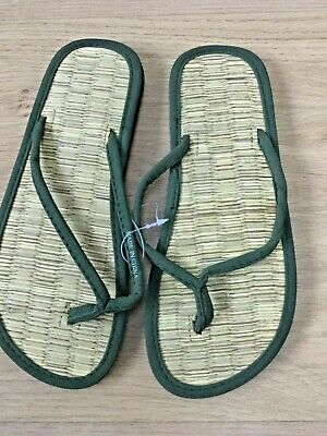 HNK845 FLIP-FLOPS BY ACCESSORIZE GIRLS UK 1-2 BRONZE SEAGRASS