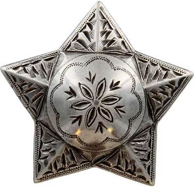 Antique Silver, Star, Engraved Windrose Concho 1""