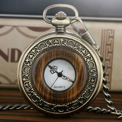 Retro Antique Pocket Watch Classic Wood Grain Round Hollow Cover Pendant Chain V