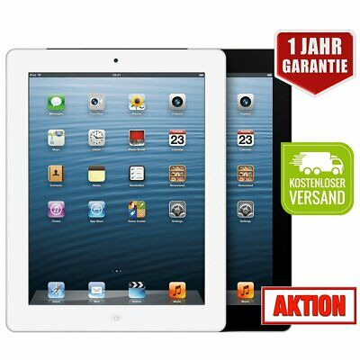 APPLE iPad 4th Gen Schwarz Weiß 16 32 64GB Retina PC Tablet WiFi - WOW