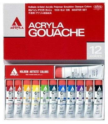 Holbein ACRYLA GOUACHE D411 12 Colors Master Set 20ml Free Shipping From JAPAN