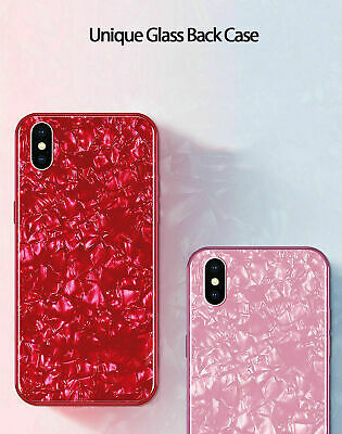 For iPhone X XS XR Max 10 8 7 6s 6 Luxury Marble Tempered Glass Case Cover