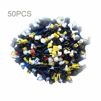 50pcs Auto Car Plastic Rivet Fasteners Push Pin Bumper Fender Panel Clips Kit AZ