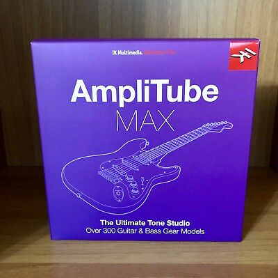 IK MULTIMEDIA AMPLITUBE MAX Software Amp Stomp Electric Guitar Fender BUNDLE BOX