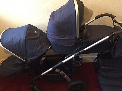 Immaculate Condition RRP £1455 Silver Cross Wave Double Stroller-Midnight Blue