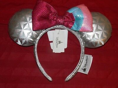 Disney Parks Minnie Ears Headband EPCOT BUBBLE GUM WALL Spaceship Earth New Tags