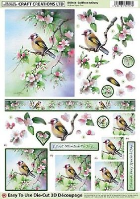 Craft Creations Easy To Use Die-Cut 3D Decoupage Goldfinch In Cherry DCD558