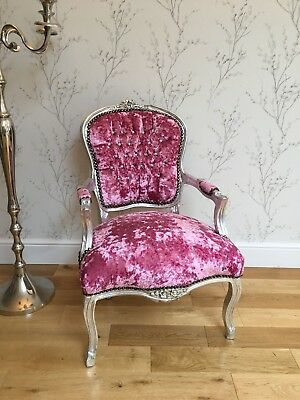 French Louis style Shabby Chic Hot Pink Crushed Velvet Chair with Diamantes