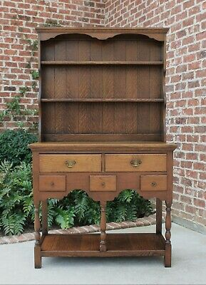 Antique English Oak PETITE Plate Dresser Sideboard Cabinet Buffet Server