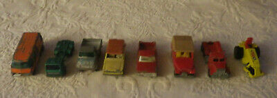 Vintage Lot of 8 Die Cast Cars Trucks Matchbox & Hot Wheels Jeep Ford GMC