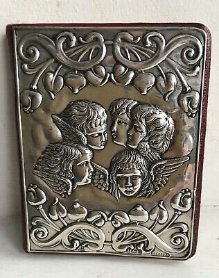 Antique English Sterling Silver & Moroccan Leather Address Book 1903 - Cherubs