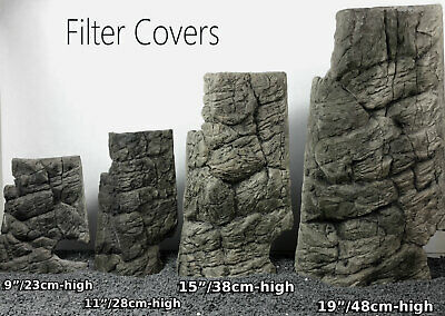 Grey Filter Cover Matches 3D Background Fish Tank Decoration 3D Rock Stone