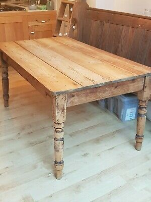 Large Country Farmhouse Pine Kitchen Table