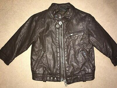 Baby Boys Brown Faux Leather Biker Jacket - Age 9/12mths