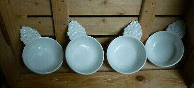 Red Cliff Ironstone Bowl USA With Decorated Handle Set of 4 Signed Hard to Find