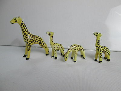 Vintage lot 4 Miniature Bone China Giraffe Figurines Japan Paper Tags Excellent
