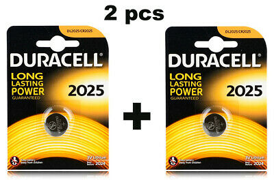 2 x Duracell CR2025 DL2025 3V Lithium Coin Cell Battery Long Lasting 2025